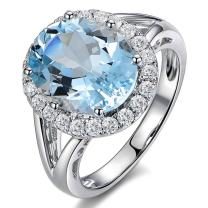 Fashion Natural Blue Aquamarine Gemstone Real Diamond Solid 14K White Gold for Women Lady Wedding Engagement Band Ring Set
