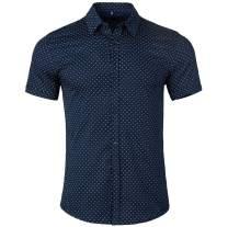 WULFUL Men's Casual Short Sleeve Button Down Shirt Printed Cotton Business Dress Shirts
