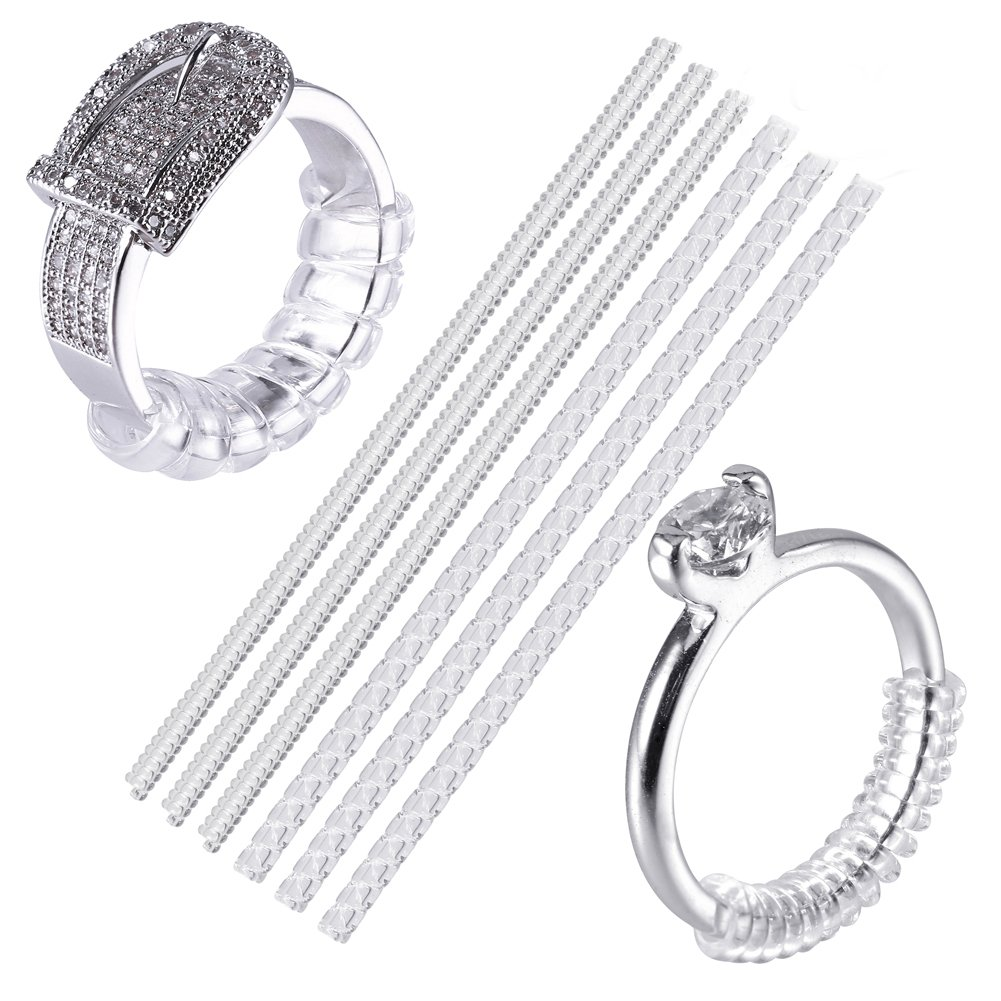 CCINEE Ring Size Adjuster with Jewelry Polishing Cloth Ring Guard Ring Resizer for Loose Rings, Set of 6