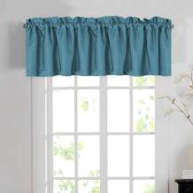 H.VERSAILTEX Blackout Linen Curtain Valances for Kitchen/Bathroom/Laundry - (1 Panel) Thermal Insulated Window Valances for Living Room/Bedroom Rod Pocket Casual Curtain 52x18 inch, Aegean Blue