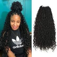 """5 Packs Boho Goddess Locs Crochet Hair 22inch River Curls Crochet Hair Faux Locs Wavy Crochet Curly Hair Faix Locs Crochet with Curly Ends for Black Women (22"""" 5Packs 1B#)"""