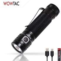 WOWTAC A6 Edc Handheld Flashlight,USB Rechargeable Flashlight Waterproof LED Flashlight Super Birght 1500 High Lumens for Camping(18650 Battery Included)-CW