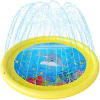 Anpro Sprinkler for Kids Splash Pad - 68'' Splash Play Mat for Toddlers Boy Girl, Water Toys Outdoor Party Sprinkler Splash Mat