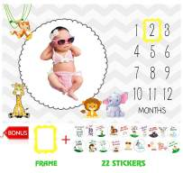 """Baby Monthly Milestone Blanket by Serene Selection Large 60""""x40"""", Photography Prop, Bonus 22 Milestone Stickers & Date marker, Thick, Soft, and Premium Material, Unisex, Girl or Boy, Personalized Pics"""