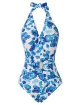 GRACE KARIN Women's Halter Swimwear Stripe Tummy Control One-Piece Swimsuit