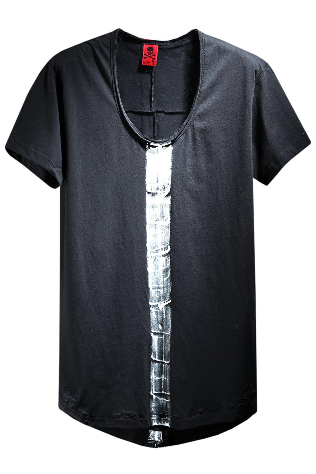 ByTheR Men's Stylish U Neck Vintage Damaged Custom Paint Solid Loose T-Shirts