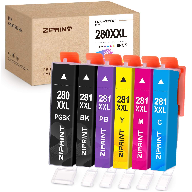ZIPRINT Compatible Ink Cartridge Replacement for Canon PGI-280XXL CLI-281XXL PGI 280 XXL CLI 281 XXL for PIXMA TS8120 TS8220 TS9120 Printers (1PGBK 1BK 1C 1M 1Y 1Photo Blue, 6-Pack)