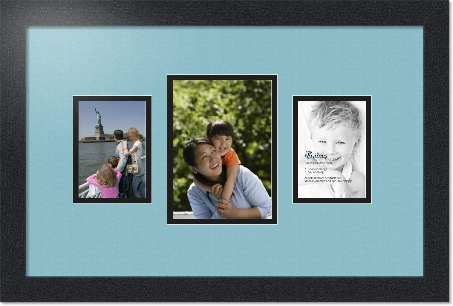 ArtToFrames Collage Photo Frame Double Mat with 1-5x7 and 2-3.5x5 Openings with Satin Black Frame and French Blue mat.