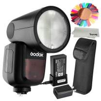 Godox V1F 76Ws 2.4G TTL On-Camera Round Camera Flash Speedlight Compatible for FUJIFILM Cameras,5600±200k, 480 Full Power Shots, 1.5 sec. Recycle Time,Rechargeable 7.2V 2600mAh Li-ion Battery