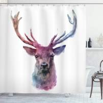 """Ambesonne Deer Shower Curtain, Illustration of Male Stag with Soft Pale Colors Antlers Wildlife Nature Print, Cloth Fabric Bathroom Decor Set with Hooks, 75"""" Long, Pink Lilac"""