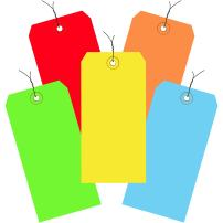 """Ship Now Supply SNG21003 Shipping Tags, Pre-Wired, 13 Pt, 6 1/4"""" x 3 1/8"""", Color, 6.25"""" Width, 3.125"""" Length, Assorted (Pack of 1000)"""