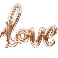 Large Rose Gold Love Foil Balloons Banner,42 Inch Mylar Foil Letters Balloons Reusable Ecofriendly Material for Wedding Bridal Shower Anniversary Engagement Party Decorations Supplies