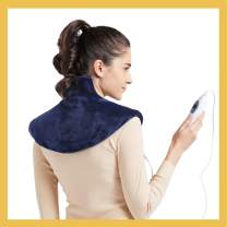 """[New LANCH] WOOMER Standard Electric Heating Pad Wrap for Shoulder Neck and Back Pain Relief, Equipped with Fixed Button to Stick Closely, 3 Heat Settings, Auto Shut Off, Navy, 15.5""""x18"""""""