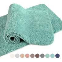 "VANZAVANZU Bathroom Rugs 20""x32"" (2 Pack) Ultra Soft Absorbent Non Slip Fluffy Thick Microfiber Cozy Bath Mat for Tub Shower Bathroom Floors Accessories (Egg Blue)"