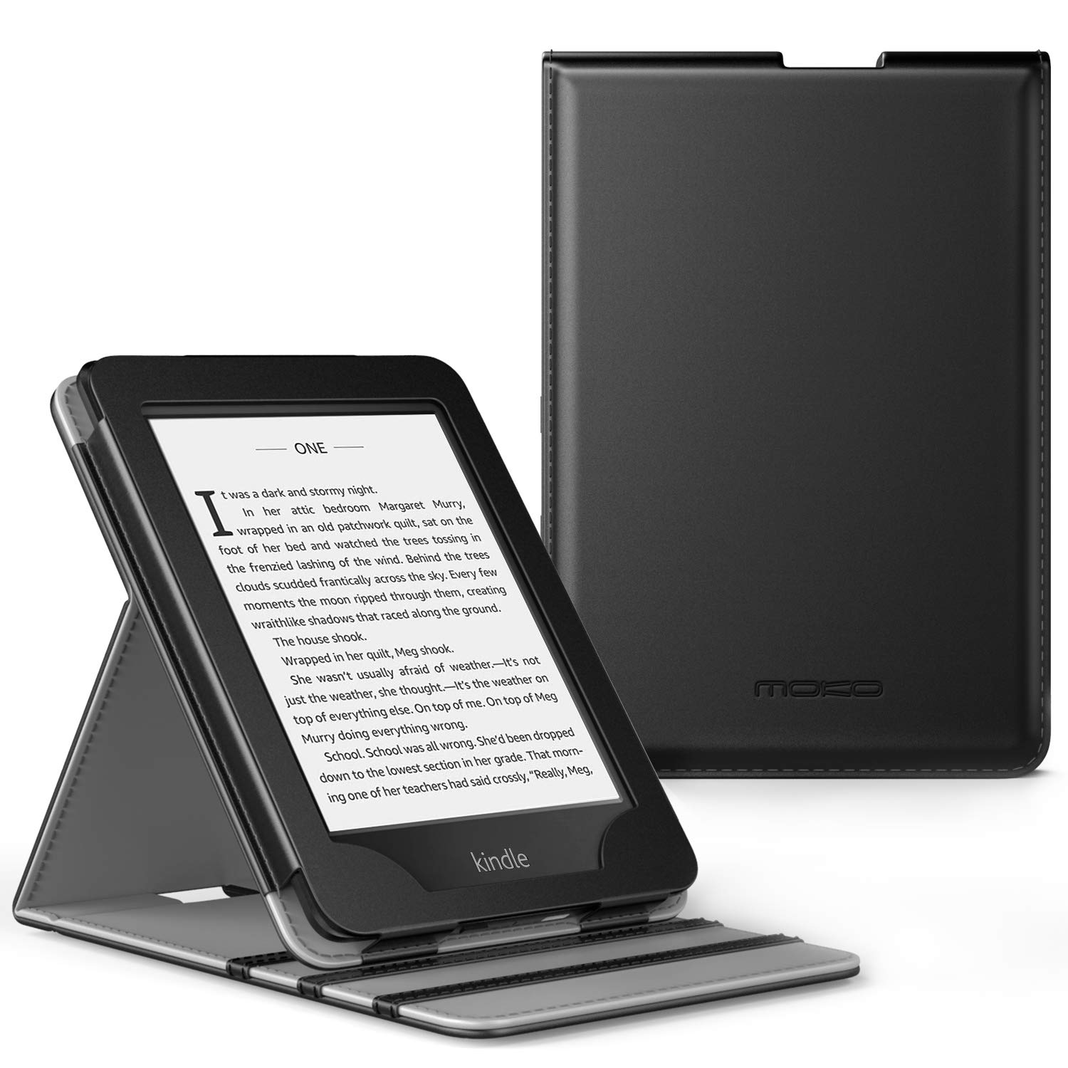 MoKo Case Fits Kindle Paperwhite (10th Generation, 2018 Releases), Premium Vertical Flip Cover with Auto Wake/Sleep Compatible for Amazon Kindle Paperwhite 2018 E-Reader - Black