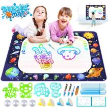 """Growsland Water Drawing Mat Kids Toys Aqua Magic Doodle Mat Mess Free Coloring Xmas Gift Toddlers Toy for 2,3,4,5,6 Year Old Girls Boys Space Theme Writing Painting 39.4"""" X 27"""""""