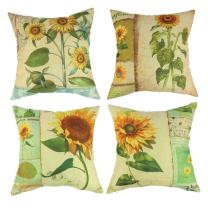 wendana Sunflower Throw Pillow Covers 18 x 18 Set of 4 Farmhouse Pillows Accent Pillows for Sofa Christmas Pillow Covers Decorative