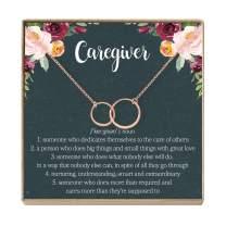 Dear Ava Caregiver Thank You Gift Necklace: Caretaker, Nurse, Attendant, Appreciation, 2 Asymmetrical Circles