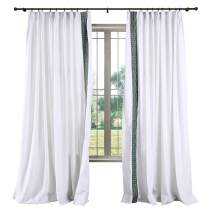 TWOPAGES Linen Pinch Pleat Curtain Luxury Decorative Pattern Curtain for Living Room, Window Treatment Drape (Snow White, 2 Panel, 52 x 63 Inches)