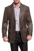 BGSD Men's Brown Leather Blazer 3-Button Distressed Cowhide Sport Coat Jacket