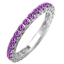 Dazzlingrock Collection 18K White Gold Round Gemstone Eternity Sizeable Stackable Wedding Band