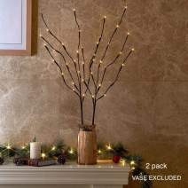 Vanthylit 2PK 30in Twig Brown Branches with Fairy LED Lights 40LED Battery Operated Lighted Decoration Indoor Outdoor Use(Vase Excluded)