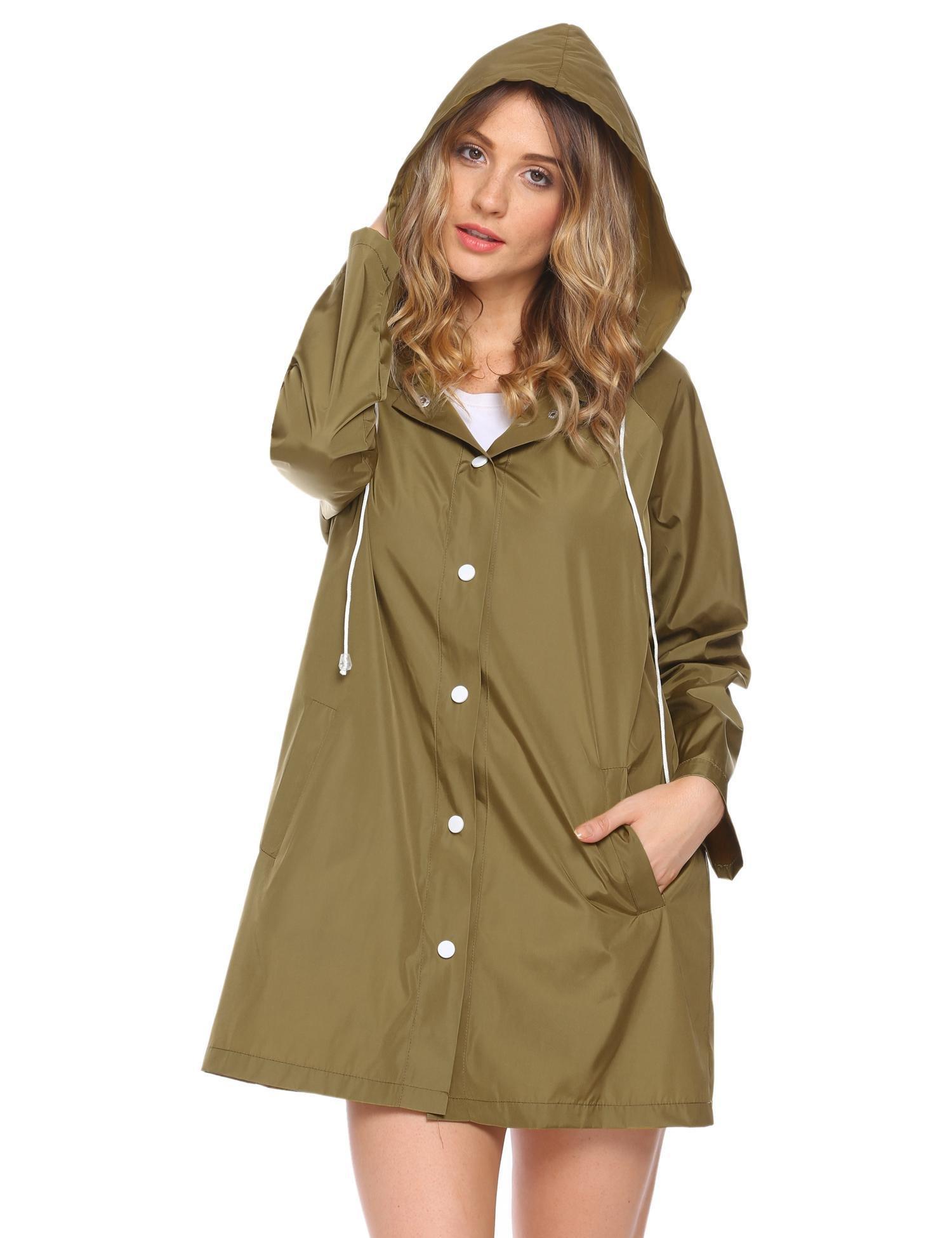 SUNAELIA Women's Raincoat Lightweight Waterproof Rain Coat with Hood Long Rain Jacket Windbreaker