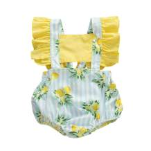 Baby Girls'Ruffle Sleeve Floral Bubble Romper Summer Soft One Pieces Clothes