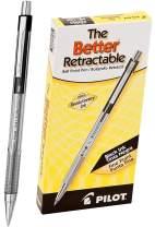 PILOT The Better Ball Point Pen Refillable & Retractable Ballpoint Pens, Fine Point, Black Ink, 12 Count - 1 Pack