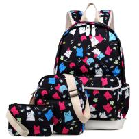 Kemy's Cat School Backpack for Girls Set 3 in 1 Cute Kitty Printed Bookbag 14inch Laptop School Bag for Girls Water Resistant Colorful Thanksgiving Day Christmas Gifts