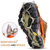 Crampons Ice Cleats Snow Grips for Shoes Boots Men Women Traction Cleats with Reinforced Stainless Steel Spikes for Winter Walking Hiking Fishing