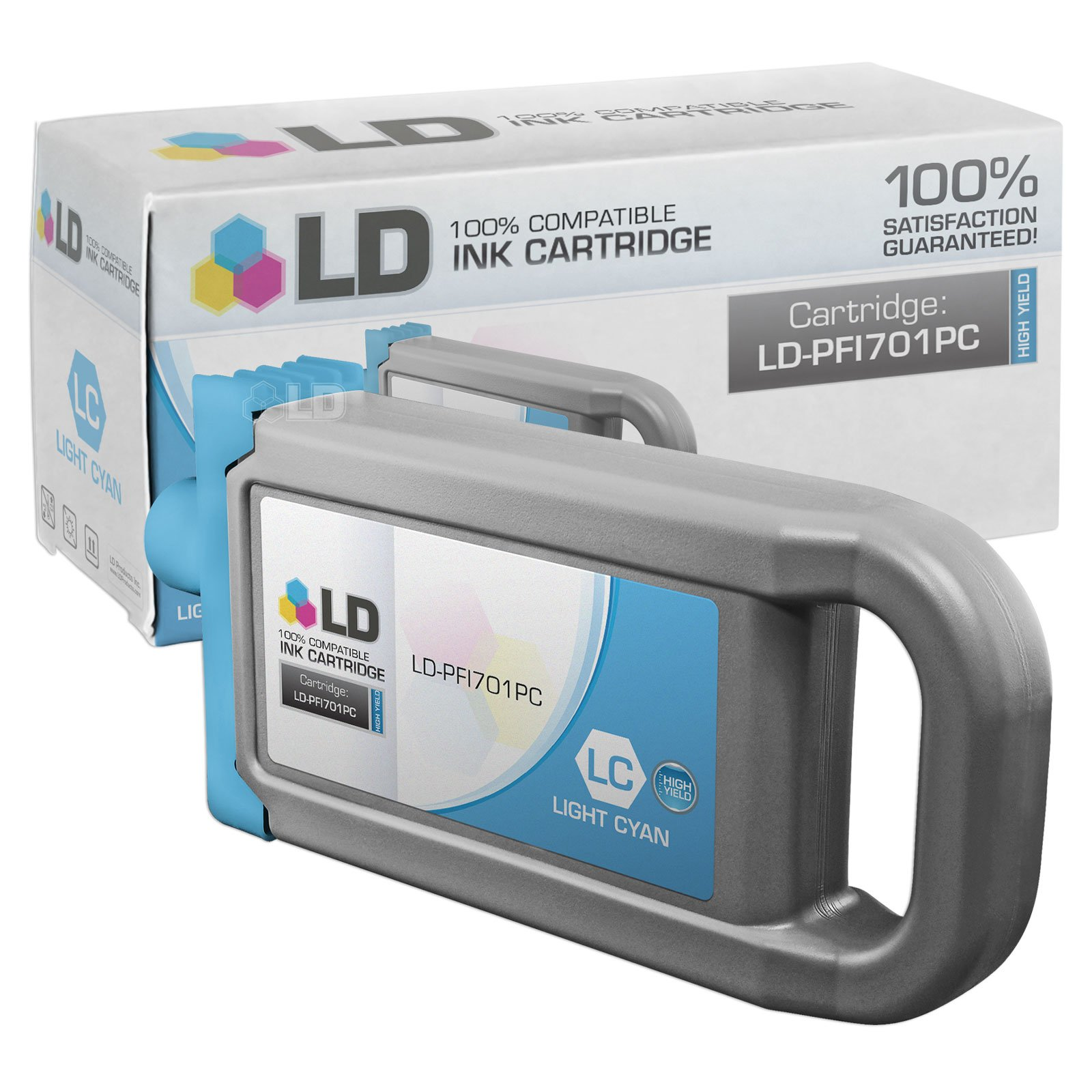 LD Compatible Ink Cartridge Replacement for Canon PFI-701PC 0904B001AA High Yield (Photo Cyan)