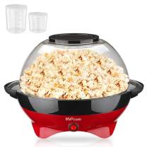 MVPower Popcorn Popper Machine, Electric Hot Oil Stirring Popcorn Maker with Measuring Cups and Large Lid, 6 Quart, Red