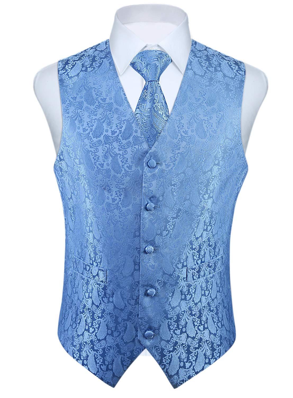 HISDERN 3pc Men's Paisley Floral Jacquard Waistcoat & Necktie and Pocket Square Vest Suit Set Baby Blue