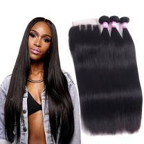 10a Straight Bundles with Closure Brazilian Human Hair Bundles with Closure (18 20 22+16) Grace Length Unprocessed Brazilian Human Hair 3 Bundles with Closure