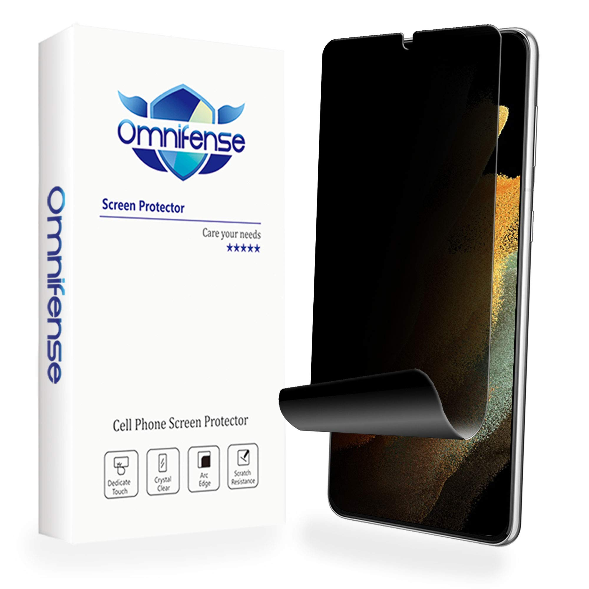 Omnifense Galaxy S21 Ultra 5G Privacy Screen Protector Full Adhesive Soft Film (NOT Tempered Glass)[2 Pack], Case Friendly Support In-Screen Unlock, Glossy Finish 2 Way Anti Spy Privacy Protection for Samsung Galaxy S21 Ultra