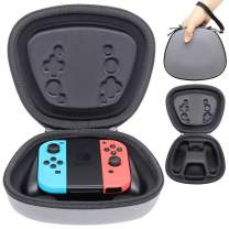 Sisma Hard Case for Official Nintendo Joy Con Handy Grip with Switch JoyCon Controllers, Heavy Duty and Shock Absorbing Protection Carrying Pouch - Grey