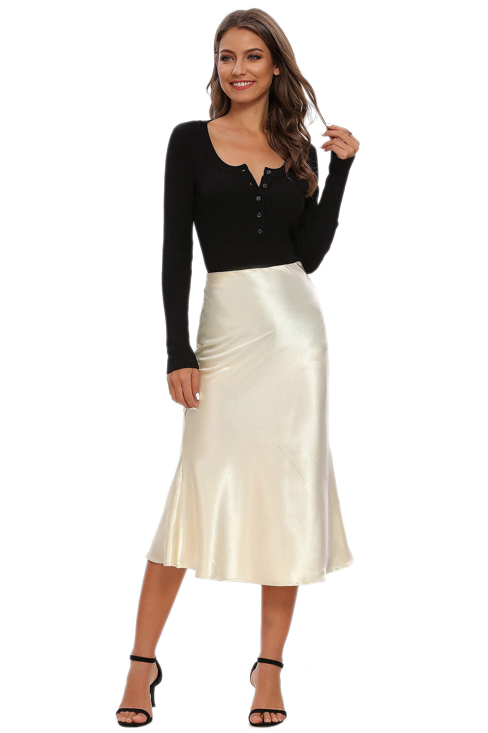 Alcea Rosea Womens High Waist Fishtail Midi Skirt Silk Satin Work Party Pencil Bias Cutting Skirt