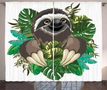 """Ambesonne Sloth Curtains, Cartoon Mammal on Tropical Jungle with Green Banana Leaves Character, Living Room Bedroom Window Drapes 2 Panel Set, 108"""" X 63"""", Chocolate Ivory"""