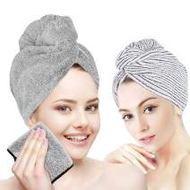 Organic Bamboo Hair Towel Wrap Turban,3 Packs Hair Drying Towels with Face Towel,Quick Dry Towel Hair Turbans,Anti Frizz Super Absorbent & Soft Hair Towels for Women Girl Wet/Long/Curly/Thick Hair