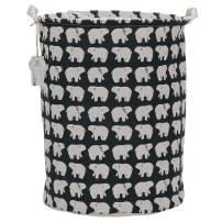 "Sea Team 19.7"" x 15.7"" Large Sized Folding Cylindric Waterproof Coating Canvas Fabric Laundry Hamper Storage Basket with Drawstring Cover, Polar Bear"