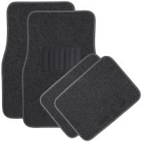 OxGord 4 Piece Luxe Carpet-Floor-Mats Set for Car - Rubber-Lined All-Weather Heavy-Duty Protection for All Vehicles, Charcoal