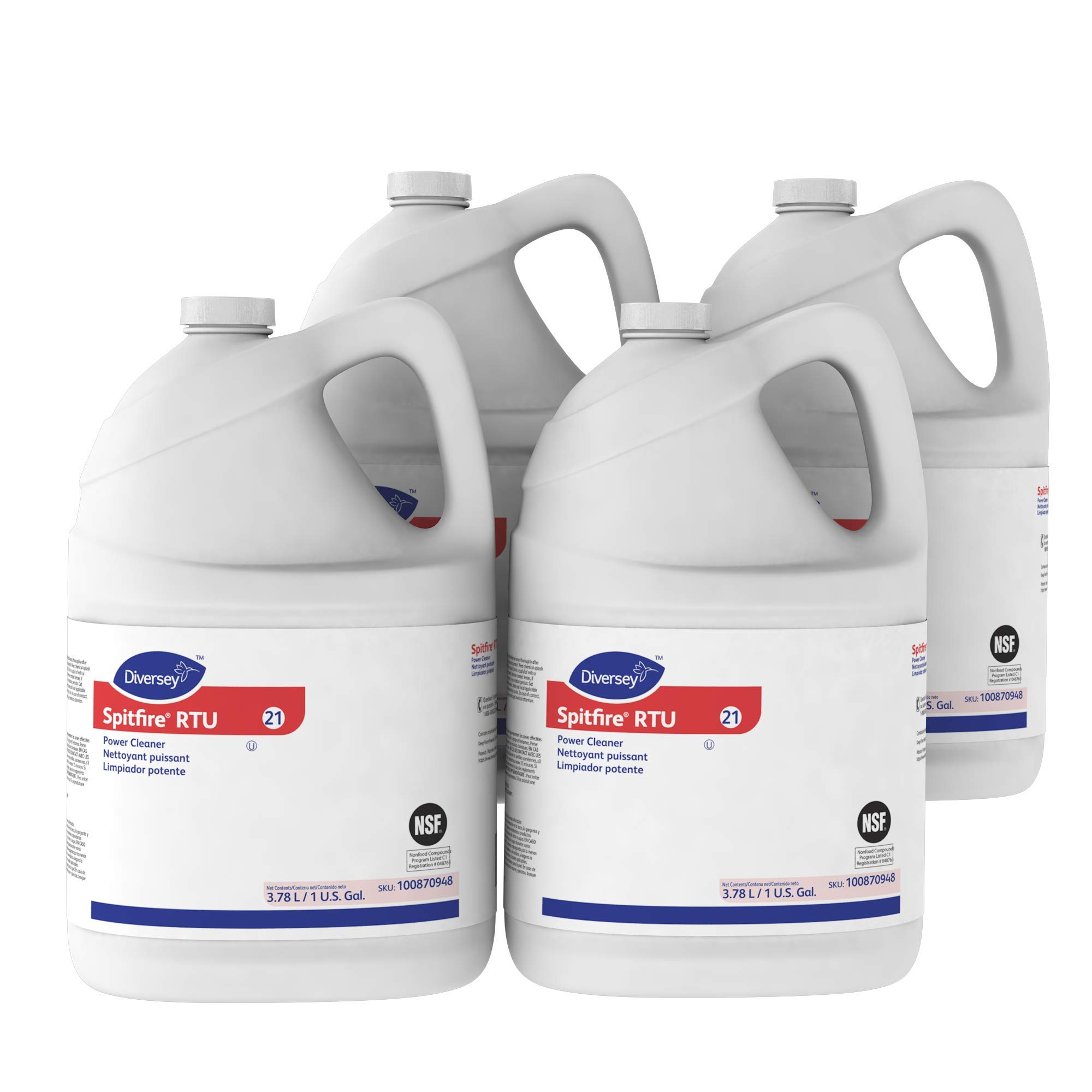 Diversey Spitfire Professional All Purpose Power Cleaner and Degreaser, 1 Gallon (4 Pack)
