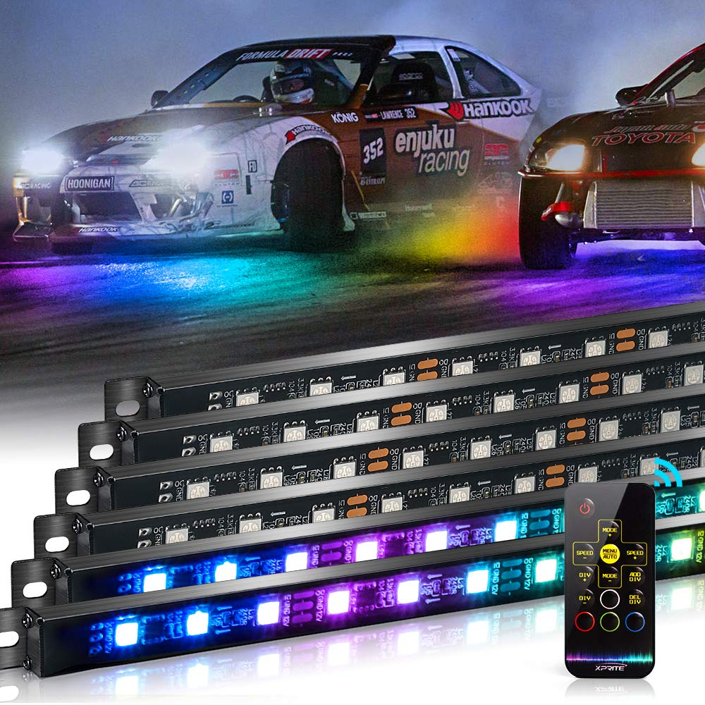 [Upgraded]Xprite Aluminum RGB LED Car Underglow Neon Light Bar, Underbody Chasing Dancing Accent Lighting Rigid Strip 6 Pcs, Silicone Sealed Waterproof Glow Lights Kit for Cars Trucks SUV RV Van JK JL