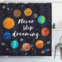 """Ambesonne Saying Shower Curtain, Outer Space Planets Star Cluster Solar System Moon Comets Sun Cosmos Illustration, Cloth Fabric Bathroom Decor Set with Hooks, 70"""" Long, Navy Orange"""