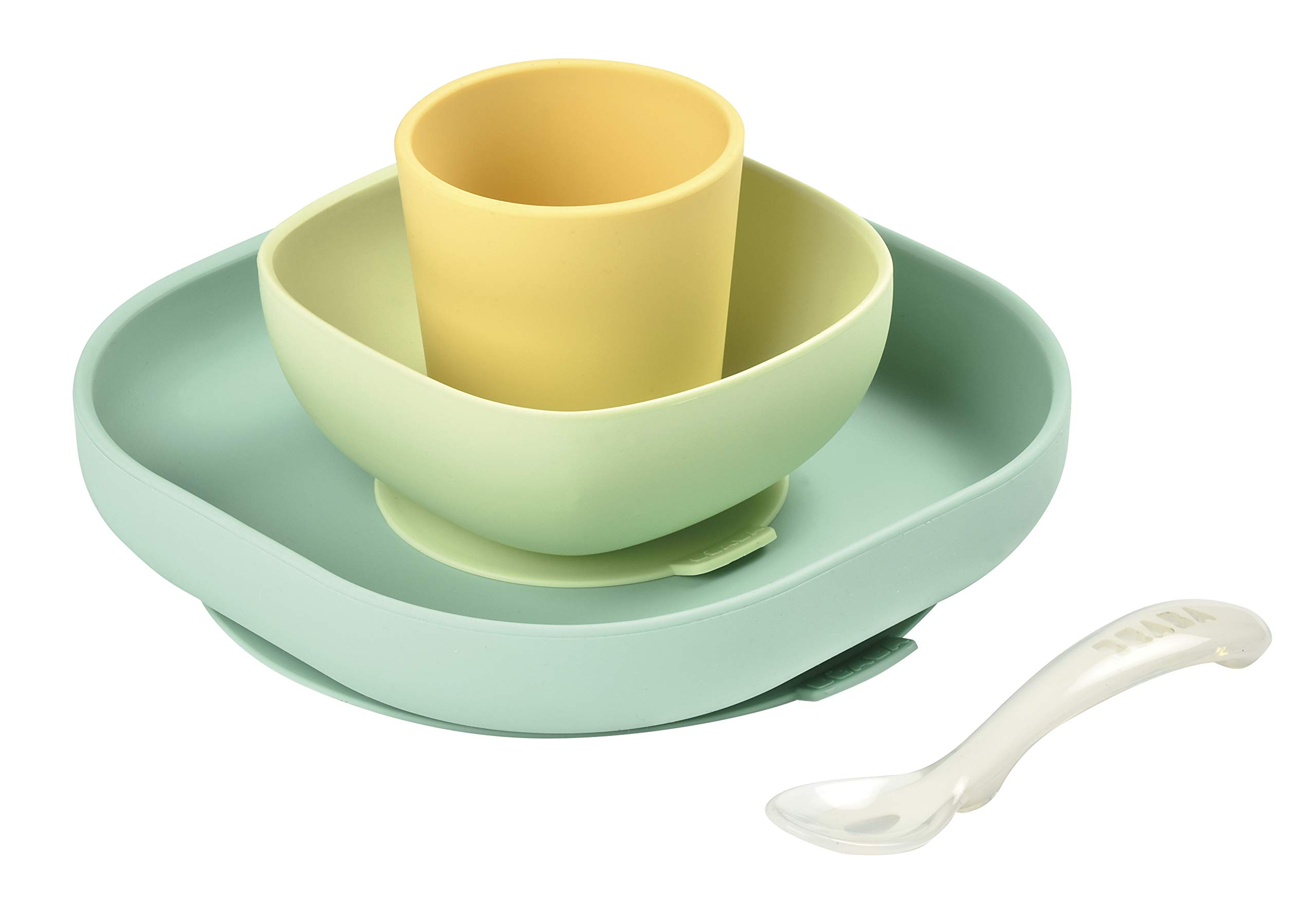 BEABA Silicone 4-Piece Dishware - Easy to Clean - Dishwasher and Microwave Safe - Soft, Unbreakable, Non-Slip Suction Bottom - Includes Plate, Bowl, Cup and 2nd Stage Silicone Spoon (Pastels)