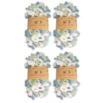 BambooMN Finger Knitting Yarn - Fun Finger Loops Yarn - 100% Polyester - Multicolor Blue Green - 4 Skeins