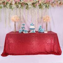 TRLYC 60 Inch by 120 Inch Red Sequin Rectangular Tablecloth