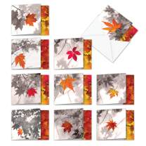Autumn Leaf - Box of 10 All Occasion Fall Season Greeting Cards with Envelopes (4 x 5.12 Inch) - Colorful Leaves, Bulk Blank Note Cards - All-Occasion Nature Notecard Set MQ4629OCB-B1x10