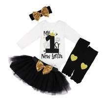 KANGKANG Baby Girl First New Year Tutu Dress Outfit My 1st New Year Romper + Leg Warmers + Headband+Tutu Dress